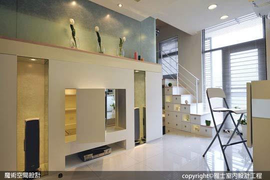 [魔術空間設計]室內設計作品-雅士室內設計工程-洪儷芹-小套房裝潢放大術 米白系夾層設計浪漫又實用