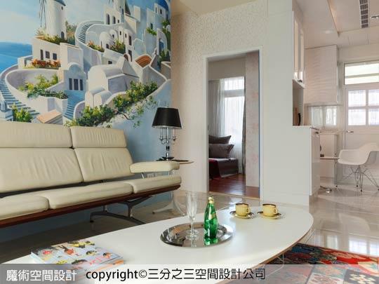 01在這一個希臘地中海浪漫室內設計風格裡,三分之三黃郁隆設計師納入世界級Eames經典家具的擺設,