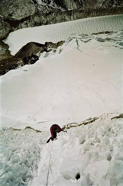 快垂直的冰壁