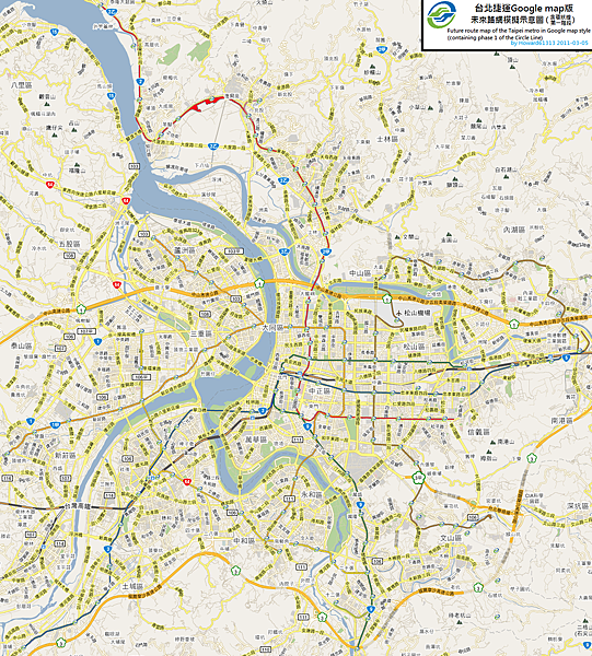 Taipei MRT future & Circle Line on Googlemap.png