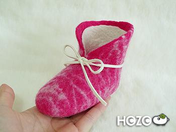 桃紅色虎斑鞋_白色鞋帶示意