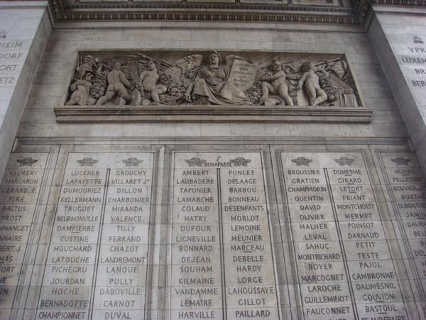 凱旋門上記錄了拿破崙的從征將領及戰功