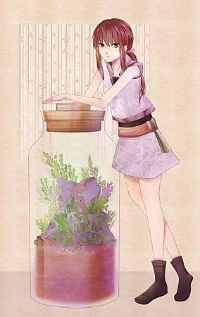 苔蘚瓶與少女