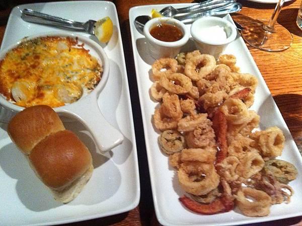 開胃菜:焗烤蝦與炸魷魚圈