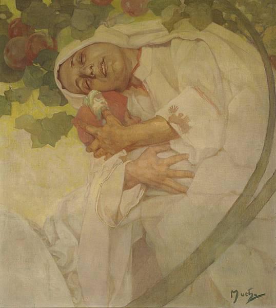 母子—搖籃曲(慕夏為布拉格亥侯大廈之大廳繪製〈歌謠〉壁畫之習作) Mother and Child – Lullaby (study for the lunette 'The Song' for the Great Hall, Hlahol, Prague.jpg