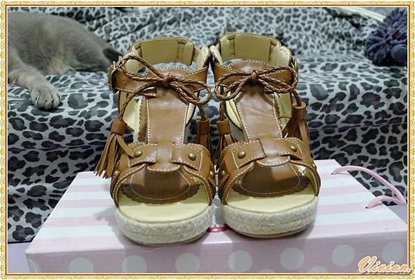 辛甜Boho女孩編織蝴蝶結綴流蘇楔型涼鞋*人氣棕