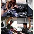 提著滿滿行李 搭著飯店提供的車子