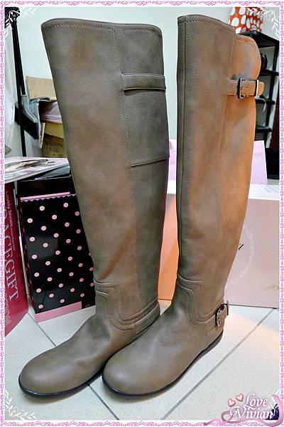平底可可色長靴