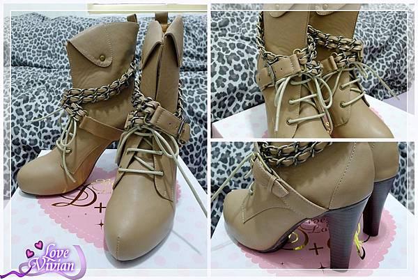 裸粉紅中筒靴
