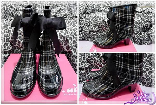 黑格紋低筒雨靴