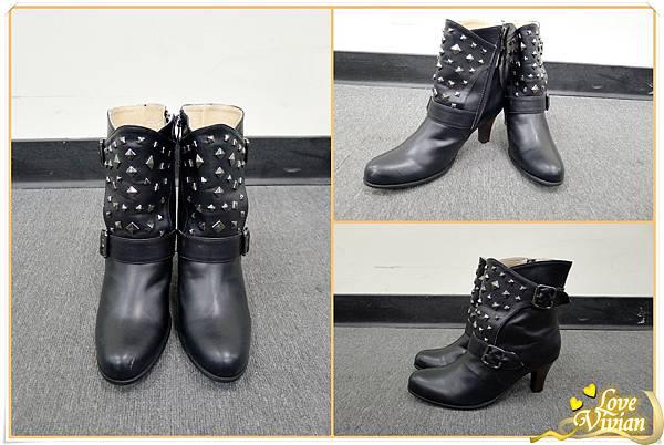 我的戰利品~黑色鉚釘短跟鞋