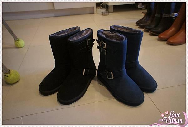 黑.藍 中筒雪靴