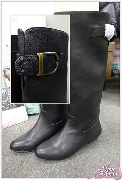 黑色平底長靴