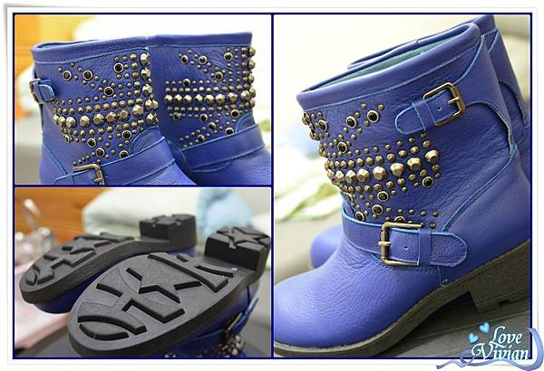 寶藍色鉚釘短靴02