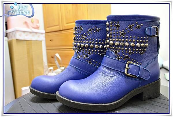 寶藍色鉚釘短靴01