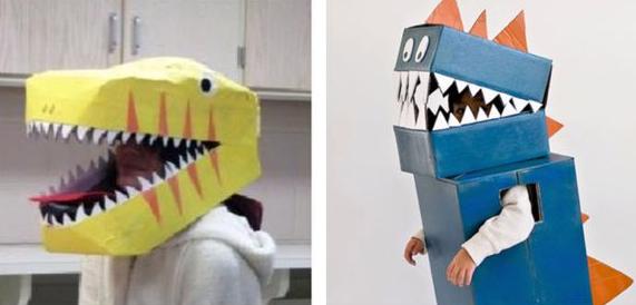 恐龍裝紙箱大變身