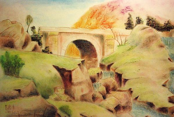 古橋流水(粉彩,色鉛筆)