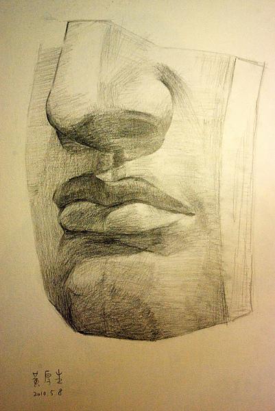 大衛的臉(鉛筆素描)