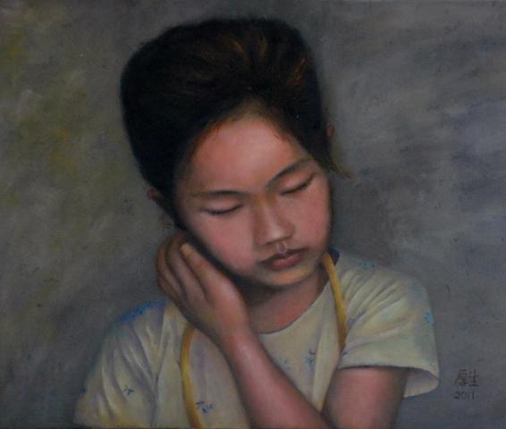 小女孩Sandy(油彩8F,2011)1.JPG