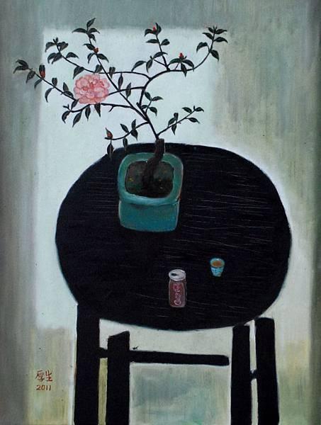 大茶花旁的對飲(油彩15P,2011)1_3.JPG
