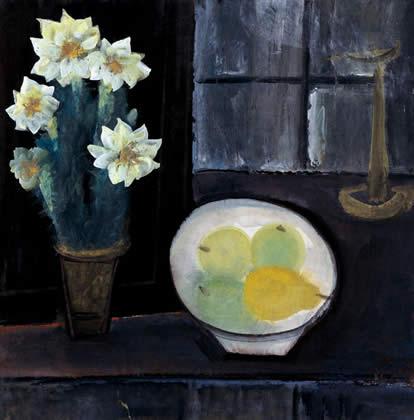 油燈花果(林風眠,68x67cm,1960).jpg