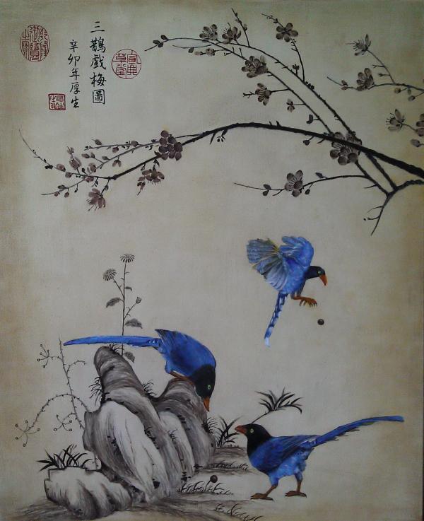 三鵲戲梅圖(油彩15F2011)1.JPG