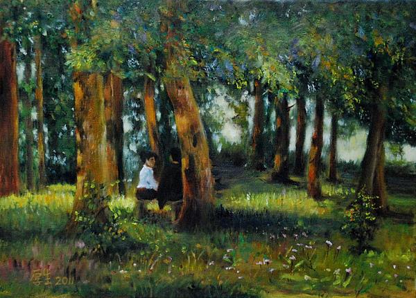 暖陽下的樹林(油彩8P).JPG