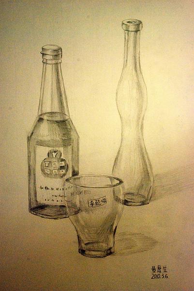 酒瓶靜物(鉛筆素描)