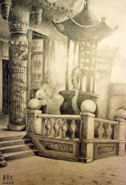 寺廟拜拜(鉛筆素描)
