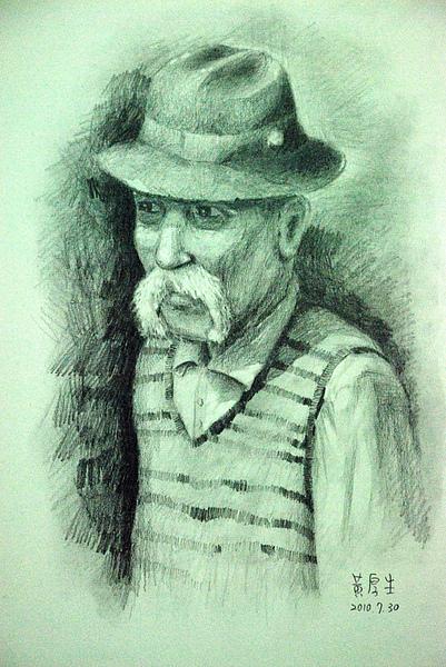 穿條紋背心的老人(鉛筆素描).JPG