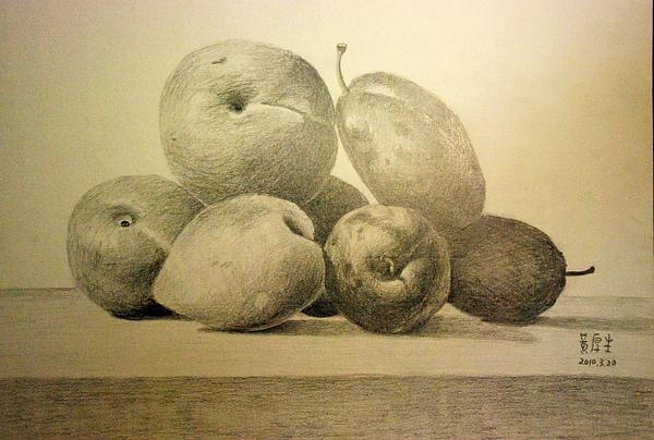 水果靜物(鉛筆素描)
