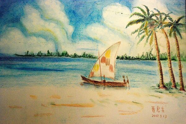 海邊帆船(粉彩,色鉛筆)