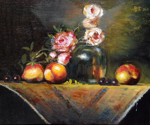 玫瑰與水果(油彩8F,2010)0002.JPG