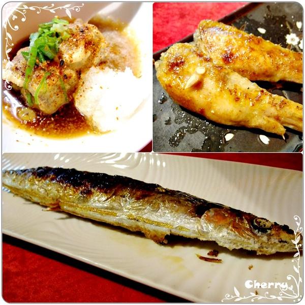 秋刀魚,烤雞翅、炸