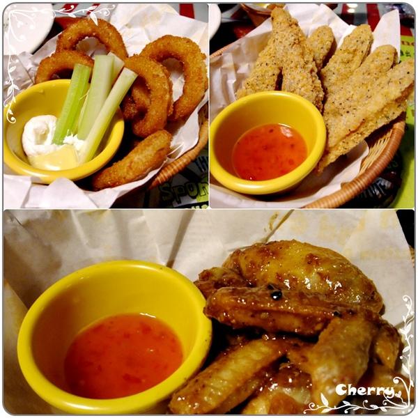 點心類~酥脆洋蔥圈、檸檬雞柳條、紐奧良烤醬雞翅