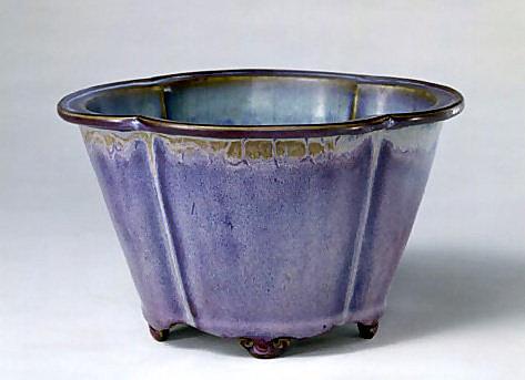 玫瑰紫釉葵花式花盆 【鈞瓷】