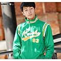 H3 復古運動外套 棒球字 (綠)