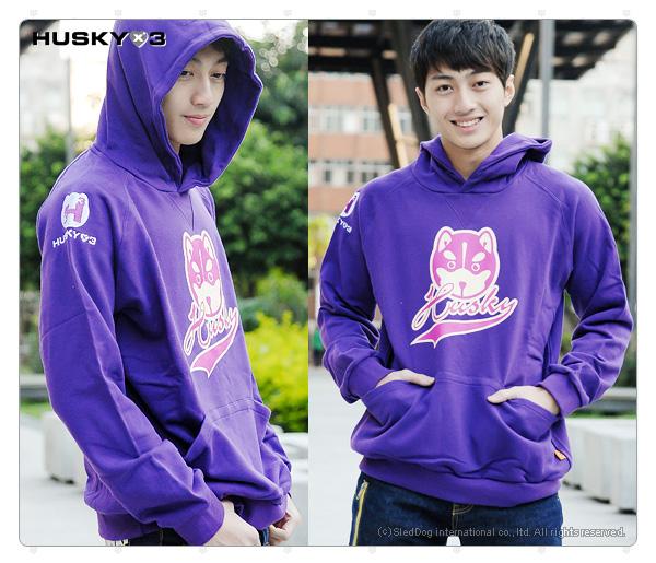 H3 連帽圓領衫 哈士奇大頭 (紫)