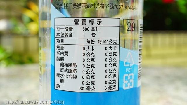 冰澌氣泡水營養標示