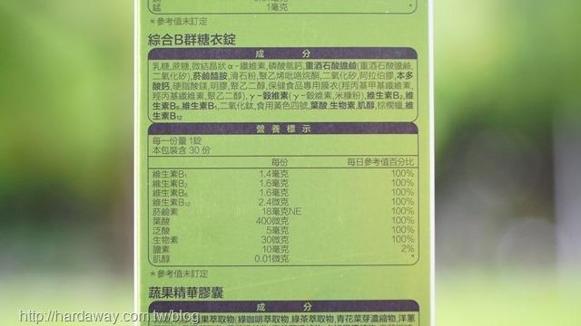 綜合B群糖衣錠營養標示