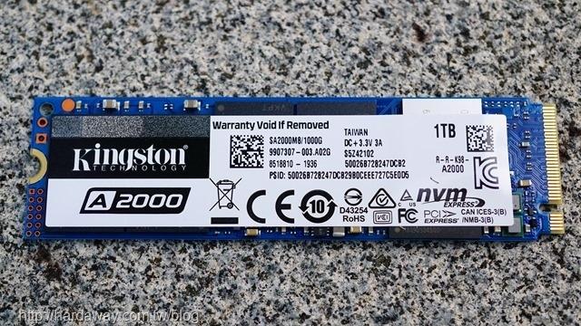 Kingston A2000 NVMe固態硬碟