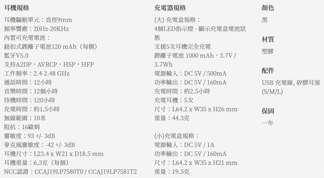 Nakamichi My DUET NEP-TW3 PLUS真無線藍牙耳機規格