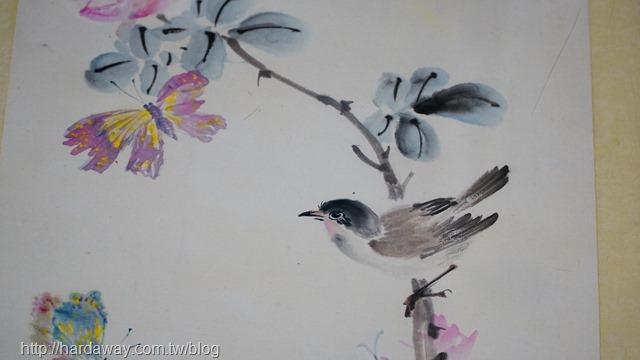 麻雀與花水墨畫