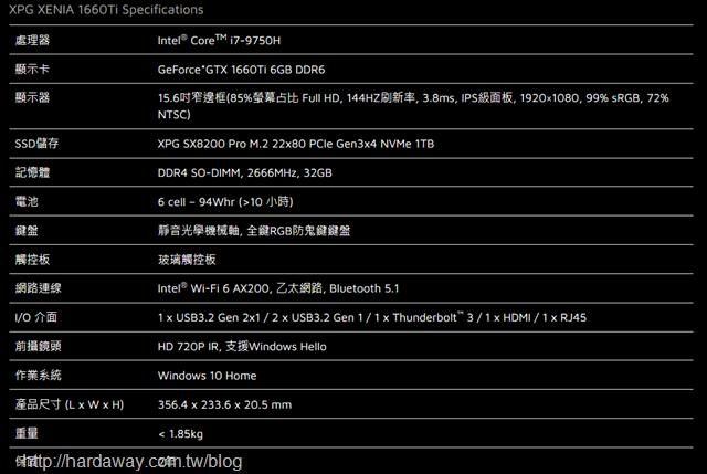 XPG XENIA女武神薩尼亞電競筆電規格