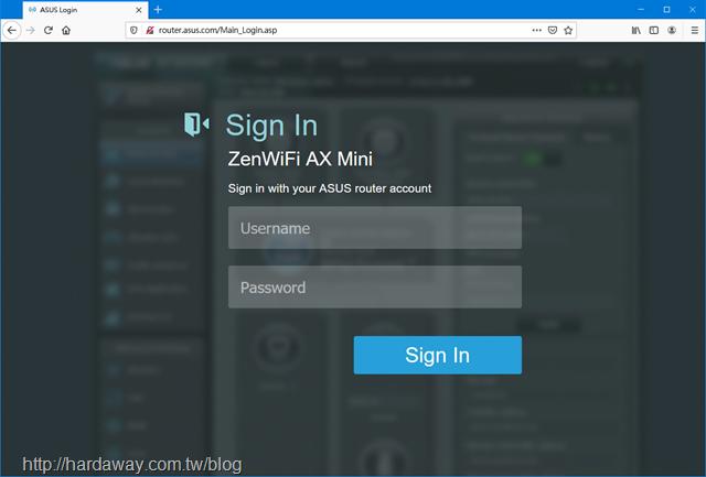 Asus ZenWiFi AX Mini網頁管理介面
