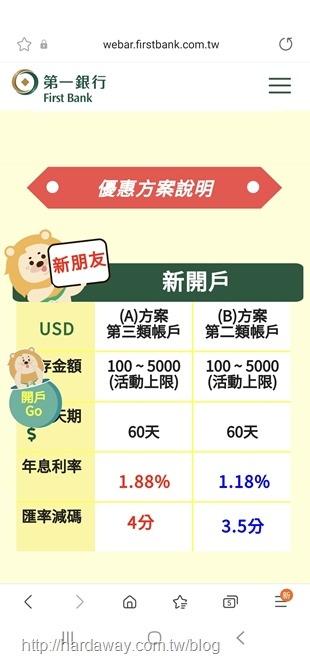 第一銀行小粉獅最優匯美元優利定存方案