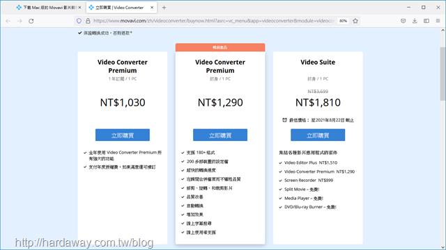 Movavi Video Converter 2021購買方案