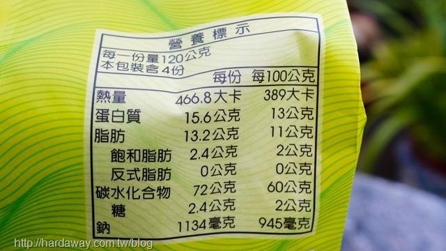 川巴子蔥油拌麵營養標示
