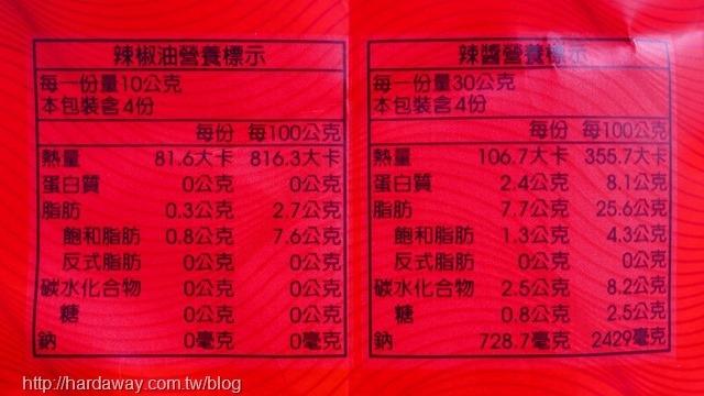 川巴子川味辣麵醬包營養標示