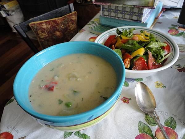Homemade lobster bisque with garden salad!! Yummy lunch!!
